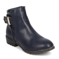 DbDk DC97 Women Leatherette Round Toe Zip Belted Ankle Bootie