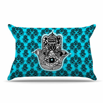 "Shirlei Patricia Muniz ""The Eye"" Black, llustration Pillow Case"