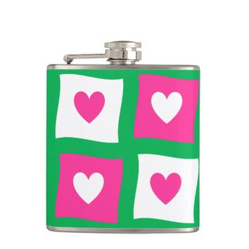 cool hearts pattern hip flask