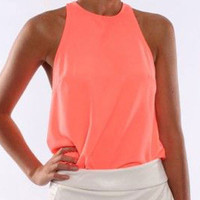 Summer Beach Tank Top Sleeveless  Vest T-shirt
