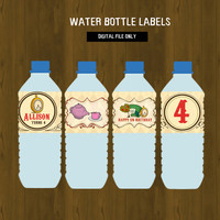 Alice in Wonderland Water Bottle Labels- Alice Tea Party Printable Water Bottle Labels for Birthday or Baby Shower