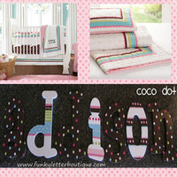 Coco Dot Pink and Brown Hand Painted Wall Letters
