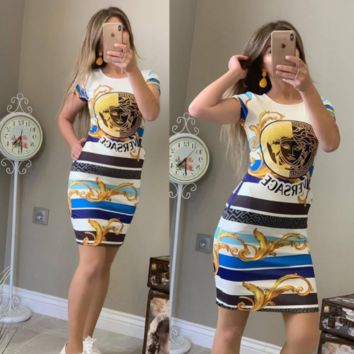 Versace Women Fashion Short Sleeve Dress