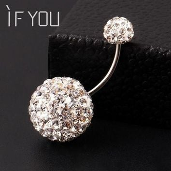 CREYONRZ IF YOU Trendy Ball White Crystal Navel Ring Stainless Steel Piercing Belly Button Rings Body Fashion Jewelry Summer Style Women