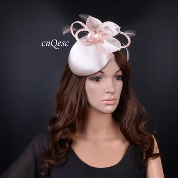 New Design nude pink elegant sinamay satin fascinator organza hat for wedding party Races Kentucky Derby Ascot church