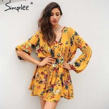 Simplee Boho print lace hollow out summer dress Women lantern sleeve loose short dress Vintage flower white dress vestidos