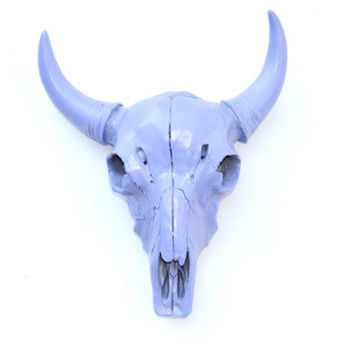 Faux Taxidermy - Miniature Lavender Buffalo / Bison Skull Head Wall Mount MB23