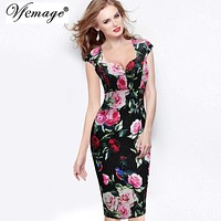 Vfemage Womens Sexy Elegant Floral Dobby Casual Bodycon Special Occasion Bridesmaid Mother of Bride Evening Party Dress 2995