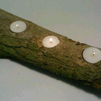 Rustic Log Candle Holder by DeerwoodCreekGifts