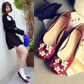 Summer Casual Square Toe Butterfly Leather Shoes [4920297028]