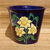 Hand Painted Blue Flowerpot With Daffodils, Hand Painted Flowerpot, Hand Painted Daffodils, Painted Flowerpot, Gifts For Her
