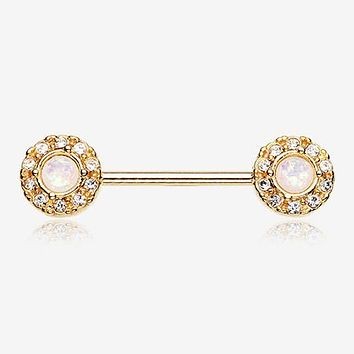 A Pair of Golden Opal Elegance Nipple Barbell Ring