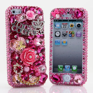 Bling iphone 5 case cover faceplate Luxury 3D Swarovski Crystal Diamond Pink Juicy Couture Design Front & Back case