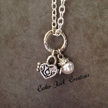 Heart Shaped Message/Prayer Box Necklace, Pearl Drop Charm Necklace