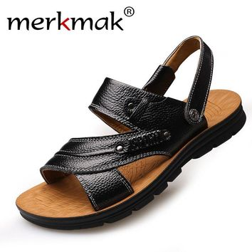 Merkmak New Arrive 2017 Men Summer Sandals Mens Genuine Leather Shoes Casual Beach Sandals Slippers two-in-one Flats Shoes
