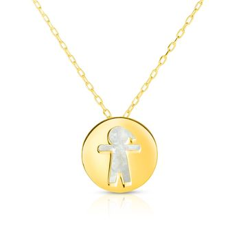 """14K Yellow Gold Mother Of Pearl Boy Pendant Necklace, 16"""""""