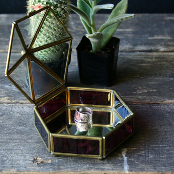 Vintage Hexagon Glass and Brass Jewelry or Ring Box With Etched Bird And Mirror Bottom Vintage From Nowvintage on Etsy