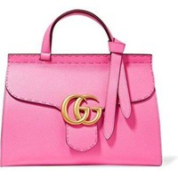 GUCCI Bamboo Shopper Medium Printed Textured-Leather Tote Nude Blooms Bag