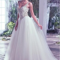 [169.99] Amazing Tulle V-neck Neckline A-line Wedding Dresses With Beaded Lace Appliques - dressilyme.com