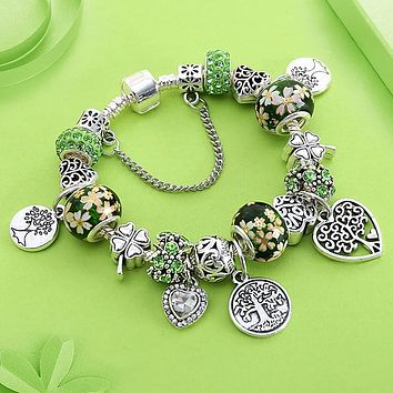 Drop Green Tree of Life Charm Pan Bracelet Silver Color Heart Flower Bead Bracelets & Bangles Fashion Jewelry Gift