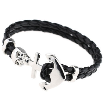 2016 New Design Fashion Genuine Vintage Anchor Leather Bracelet For Man Magnetic Punk Wrap Skull Man Bracelet Skull