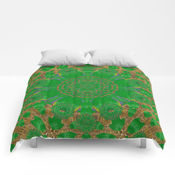 Summer landscape in green and gold Comforters by Pepita Selles