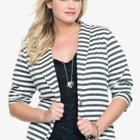 Grey & Ivory Striped Lace Back Blazer