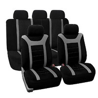 FH-FB070115 Sports Fabric Universal Full Set / Complete Seat Gray Black Car Seat Covers Front low back and Airbag compatible, Rear Split Bench - Fit Most Car, Truck, Suv, or Van