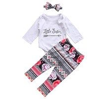 Newborn Baby Little Sister Rompers Big Sister T-shirt Tops+Long Floral Pants Headband Family Matching Outfits Clothes Set Cotton