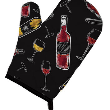 Red and White Wine on Black Oven Mitt BB5197OVMT