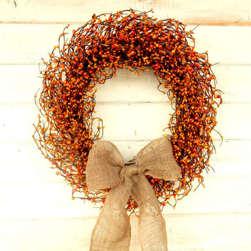 PUMPKIN SPICE-Orange Wreath-Orange Berry Wreath-Scented Door Wreath-Rustic Primitive Home Decor-Scented Pumpkin Spice or Choose your Scent
