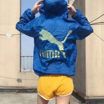 Fashion Women Men Puma Coat Windbreaker-Sunblock Constant temperature change color B-LWWM-SZ Blue