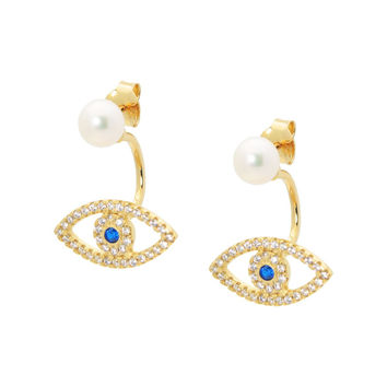 18k Gold Plated Two Piece Eye and Pearl Earrings