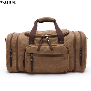 large capacity canvas men travel bags women weekend carry on luggage & bags leisure messenger duffle shoulder bag Handbag