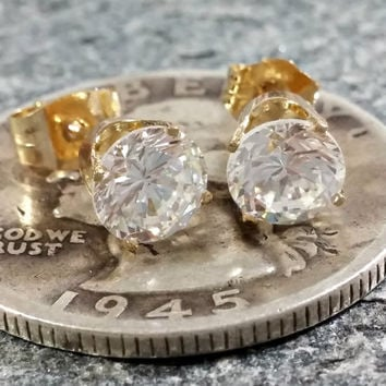 14k Gold Stud Earrings Sparkling Clear Cubic Zirconia 5 mm Stones Clear Gemstone Earrings Adult Size Pierced Stud Earrings Yellow Gold Solid