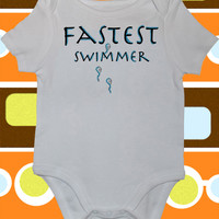 FASTEST SWIMMER, Funny Onesuit or Toddler T-Shirt