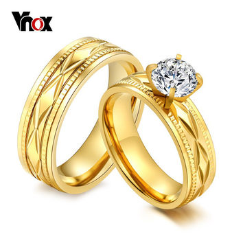 Vnox Simulated Synthetic Diamond Engagement Rings for Women Gold Plated Crystal Women Men New Bridal Wedding Rings Jewelry