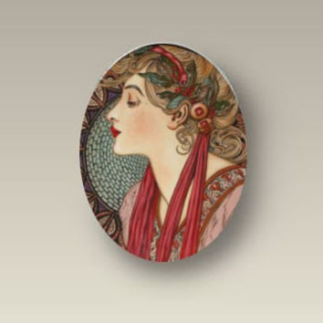 Handcrafted Laurel Alphonse Mucha Porcelain 40x30mm Cabochon Findings supply glass
