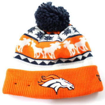New Era Unisex Denver Broncos Mooser Cuff Pom Orange Beanie Hat