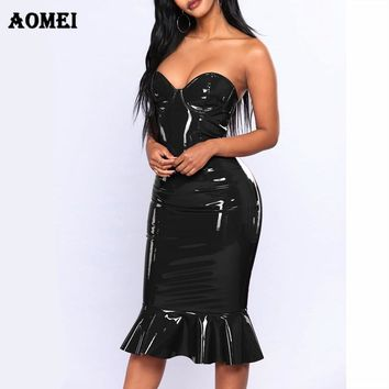 Plus Size Tube Dress 2018 Sexy PVC Wet Look Leather Dresses Women Red Black Zipper Black Club Wear Bandage 4XL 5XL 6XL Clothing
