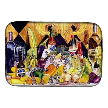 Crystal Hot Sauce with Fleur De lis and Wine Dish Drying Mat 8638DDM