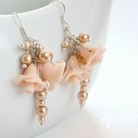 Ivory cluster earrings with tiny roses and by NESWeddingGarden