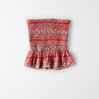 AE Smocked Tube Top, Red