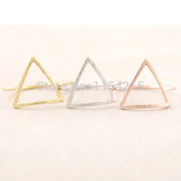 Geometric Open Triangle Rings for Women 2016 Hot Alloy  Bushed