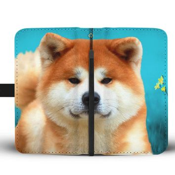 Cute Akita Dog Print Wallet Case-Free Shipping