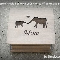 Custom Music Box - Gift for Mom - Mother's day gift idea - Wooden music box with elephants and Mom engraved to the top, choose song, color
