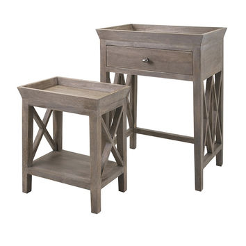 Weathered Oak Side Tables - Set of 2