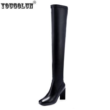 YOUGOLUN women's high heels over the knee boots woman winter thigh high genuine leather boots women stretch square toe shoes