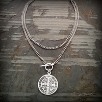 Silver Chain Silver Religious Medal Coin Chain Necklace