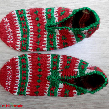 Hand knitted women's or men's unique Christmas slippers, slipper socks.